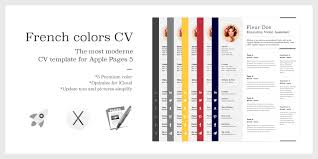 resume cover resume mac pages cv template osx pages resume resume cover the french colors cv resume premium template for apple pages 5 mac osx
