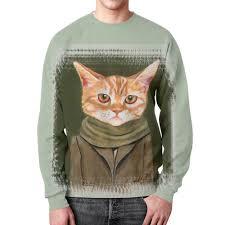 Свитшот мужской с полной запечаткой <b>Кот в пальто</b> #1423076 от ...