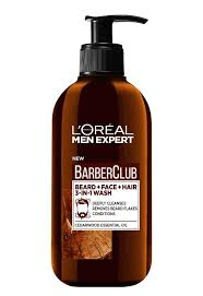 <b>Очищающий гель</b> 3 в 1 для бороды, <b>лица</b> и волос, Barber Club