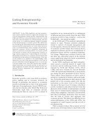 linking entrepreneurship and economic growth pdf available
