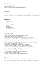 professional cosmetology instructor templates to showcase your    resume templates  cosmetology instructor