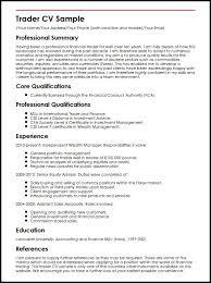 trader cv sample equity trader resume