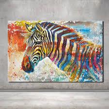 New Wildlife Wall <b>Art 100</b>% <b>Hand Painted</b> Colorful Rainbow Zebra ...