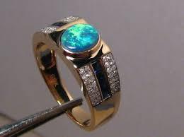 Mens Diamond Blue Sapphire & <b>Opal Ring</b> Solid 14k Yellow Gold ...