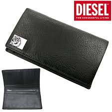 Diesel DIESEL long wallet medium wallet <b>genuine leather black</b> ...