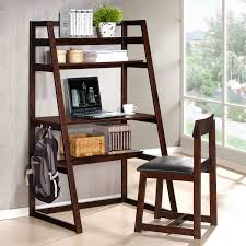 modern brown varnished teak wood book case ladder shelf with small fall home decor black home office laptop desk furniture