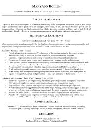 administrative assistant job resume examples  sample    executive administrative assistant resume