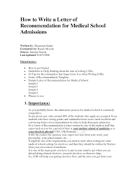 letter of recommendation medical recommendation letter  letter