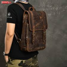#^Cheap 2019 new Crazy Horse Leather Men's Backpack <b>Retro</b> ...