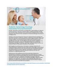 http   www pediatricfellowship com pediatrics personal statement  Pediatric Hematology Oncology Fellowship Personal Statement     SlideShare