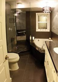 bathroom ideas corner shower design: black and white small shower themes with corner tub and black granite top vanity and white drawer panel also black tile bathroom