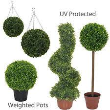 pairs of artificial topiary ball tree hanging spiral uv protected weighted pots artificial topiary tree ball plants pot garden