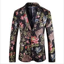 WHEM Jacquard Flower Animal Pattern <b>Large Size Men's</b> Suit ...