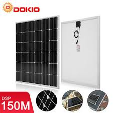 <b>DOKIO</b> 150 Watt 12 <b>Volt</b> Monocrystalline Solar Panel For RV Home ...
