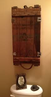Rustic Wood Medicine Cabinet Ammo Box Turned Over The Toilet Medicine Cabinet For The Home