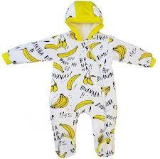 <b>Комбинезон</b> утепленный на молнии с капюшоном Бананы <b>Папитто</b>