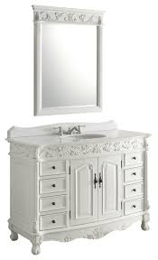traditional style antique white bathroom: florence bathroom vanity with sink antique white with mirror quot traditional