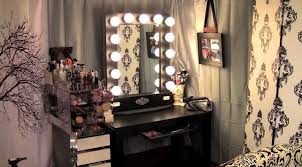 mirrored lighted make up vanity table in black wooden finish with pull out rack and white charming makeup table mirror