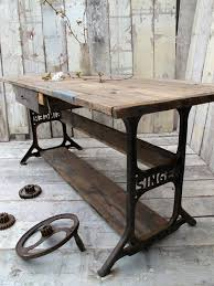 vintage industrial desk made from an old sewing machine table american retro style industrial furniture desk