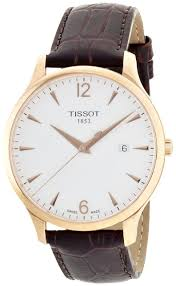 Tissot T-Classic Tradition <b>Rose Gold Leather Men</b> Watch ...