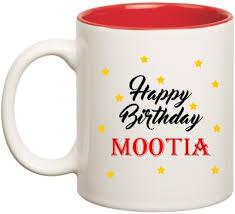 Huppme Happy Birthday Mootia Inner Red Ceramic Mug(350 ml ...