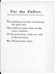 literary memories of world war one the british library the fourth verse of laurence binyon s for the fallen written in the early