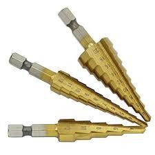 DeemoShop Pratical <b>3 Pcs HSS Titanium</b> Coated <b>Step</b> Drill Bit ...