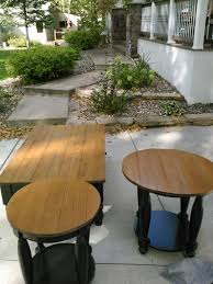willy s wood restoration st paul furniture repair mn  2 round custom made endtable tops to match pottery barn coffee table