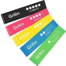 Gritin <b>Resistance Bands</b>, [Set of <b>5</b>] Skin-Friendly Resistance Fitness ...