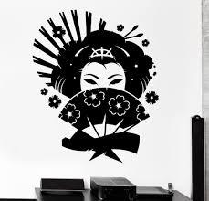 Big size <b>Wall Decal</b> Geisha Japan Oriental Woman Fan Girl Decor ...