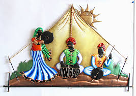 Small Picture Rajasthani Musicians in the Desert Iron Craft Wall Hanging for
