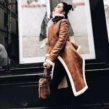 <b>2019 Xnxee</b> Irregular Fleece Coats Pu Leather Turtleneck Zipper ...