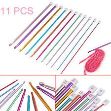 "US <b>11Pcs</b> 10.6"" 2-8mm <b>Aluminum</b> Afghan <b>Tunisian</b> Crochet Hook ..."