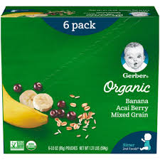 Gerber <b>Organic</b> 2nd Foods Banana Acai Berry & Mixed Grain <b>Baby</b> ...