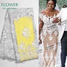 2019 <b>Nigerian</b> White Color Embroidery <b>Lace</b> Wedding Dress Fabrics ...