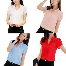 <b>Chiffon thin shirt</b> Plus Size White <b>Shirt Short</b> Sleeve <b>Blouse</b> | Shopee ...