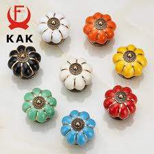 <b>KAK 5pcs/lot Pumpkin Ceramic</b> Handles 40mm Drawer Knobs ...