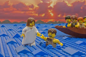 lego picture of Jesus walking on the water and Peter sinking