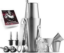 <b>Cocktail Shaker Bar</b> Tools Set (<b>14 piece</b>) Brushed Stainless Steel ...