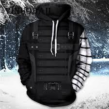 <b>YINUODAIL</b> Unisex Winter Soldier Pullover <b>Hoodie Mens</b> 3D Printed ...