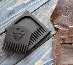 деревянная гребенка для <b>бороды</b> и усов с футляром и кожанным ...