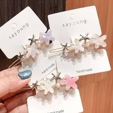 Ins <b>Korea</b> pearl hairpin retro acrylic starfish <b>flower hair accessories</b> ...