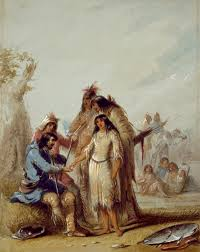 frontier types in the revenant past in the present the trapper s bride by alfred jacob miller via