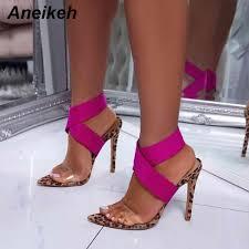 Aneikeh <b>New Designer</b> Brand Fashion Pointed Toe Open <b>Thin</b> High ...