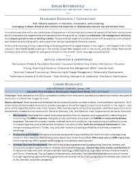 Executive Resume Samples   Professional Resume Samples Insurance