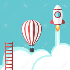 ladder hot air balloon and space rocket business success ladder hot air balloon and space rocket business success competition career