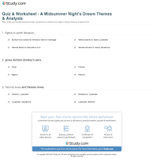 quiz worksheet a midsummer night s dream themes analysis print a midsummer night s dream analysis themes worksheet