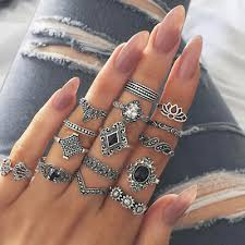 15PCS Women <b>Vintage Trend Hollow</b> Lotus Black Gem Silver Rings ...