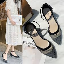 <b>Summer new women's</b> high-heeled sandals pointed mesh <b>gauze</b> ...