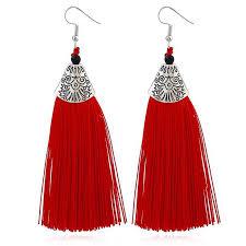 <b>HOCOLE</b> Bohemian New Red Black Yellow Long Tassel Earrings ...